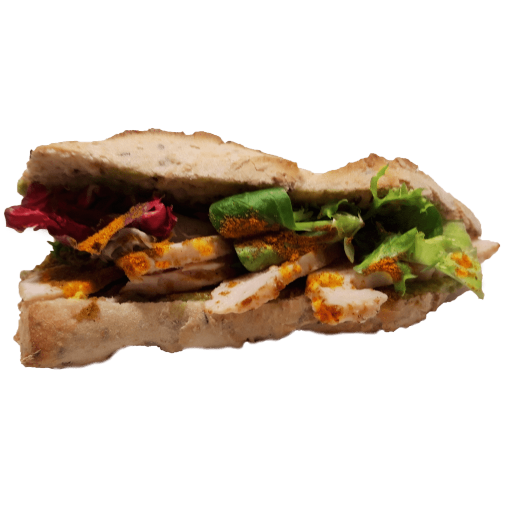 sandwich poulet curry guacamole